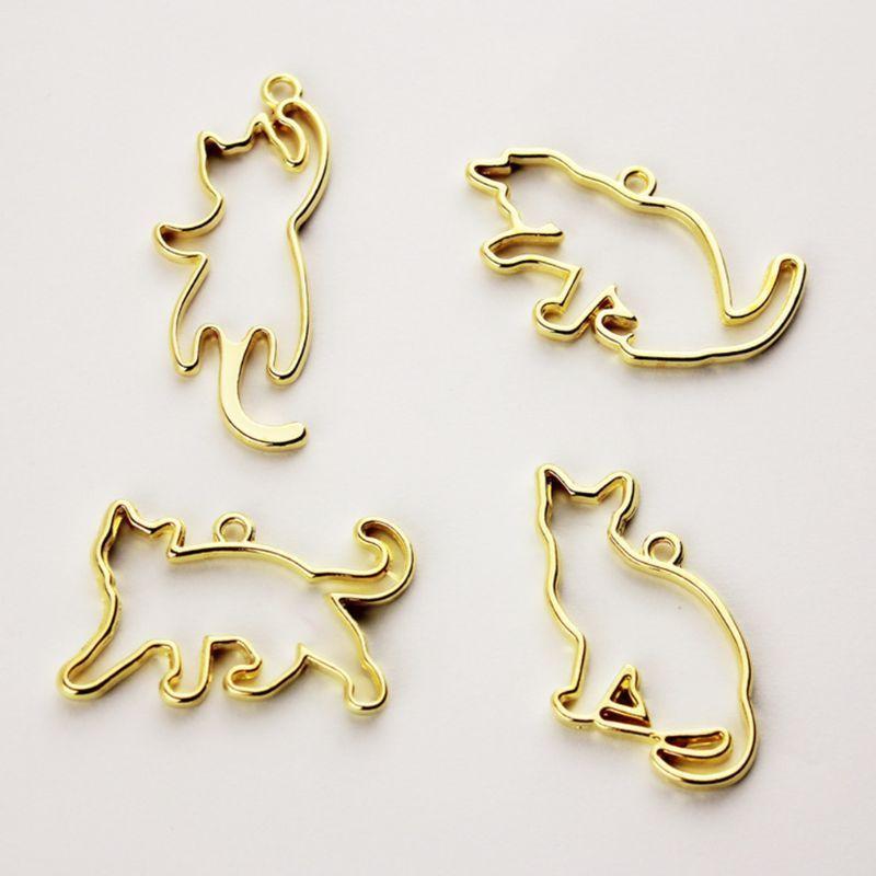 11pcs Fox Cat Metal Frame Pendant Bezel Setting UV Resin Charm Jewelry DIY Craft