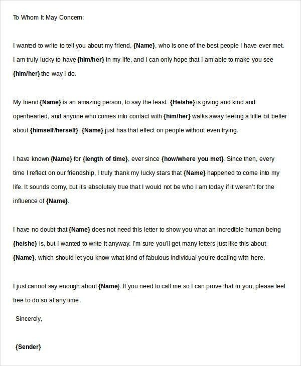 Character Reference Letter For Friend Reference Letter Pinterest