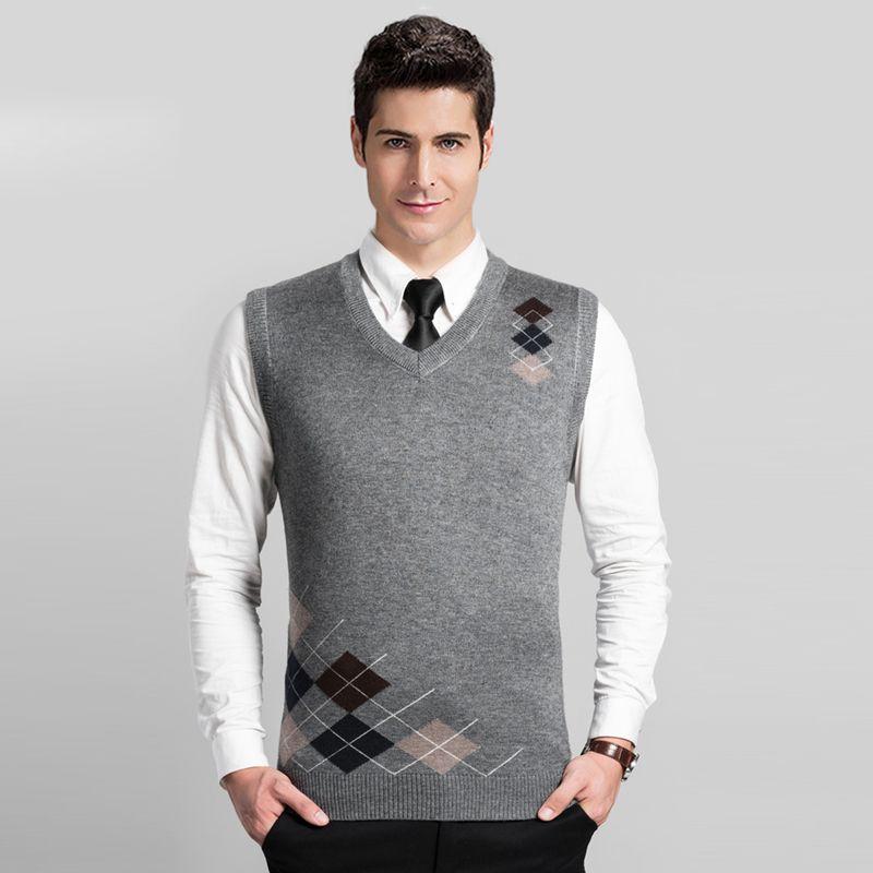 High Quality New Style Autumn Mens Argyle V Neck Sleeveless