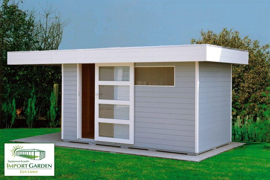 Abri de jardin moderne toit plat et porte coulissante am nagement ext rieur pinterest - Abri de jardin toit plat tek ...