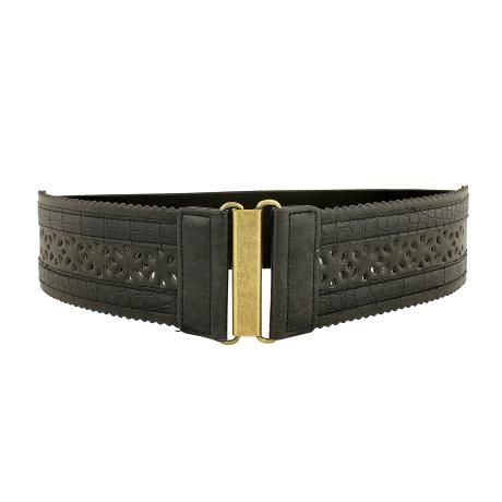 black engraved waist belt.