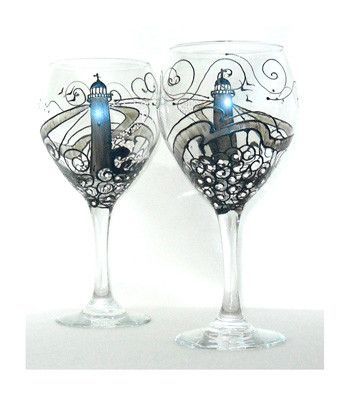 Exclusive Authentic American Sackettdoodles® Design Wine Art Goblet A  Nautical Flair In Lighthouse Wine Glasses