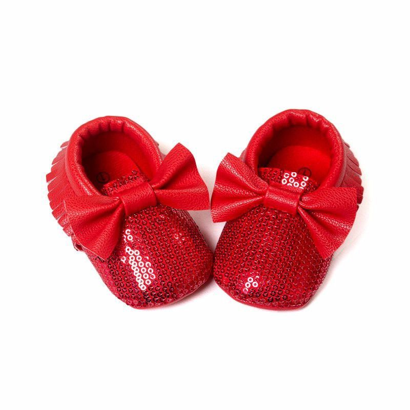 Christmas Shoes For Girls.Baby Girls Red Sequin Moccasins Bow Moccasins Ruby