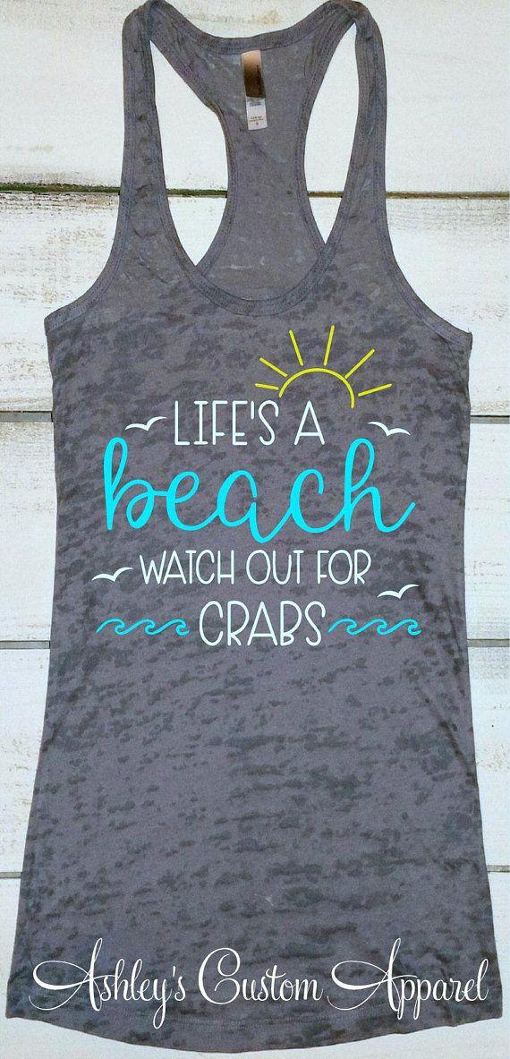 Beach Vacation Shirt, Funny Beach Shirts, Swimsuit Coverup, Beach Trip Tanks, Fitness Burnout, Summer Tank, Life's a Beach Tank, Beach Life #beachvacationclothes