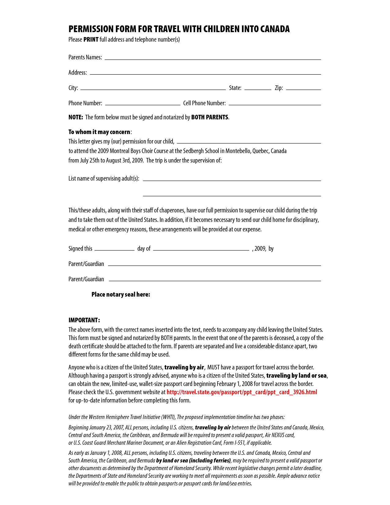 Permission Form For Travel With Children Into Canada By Csgirla