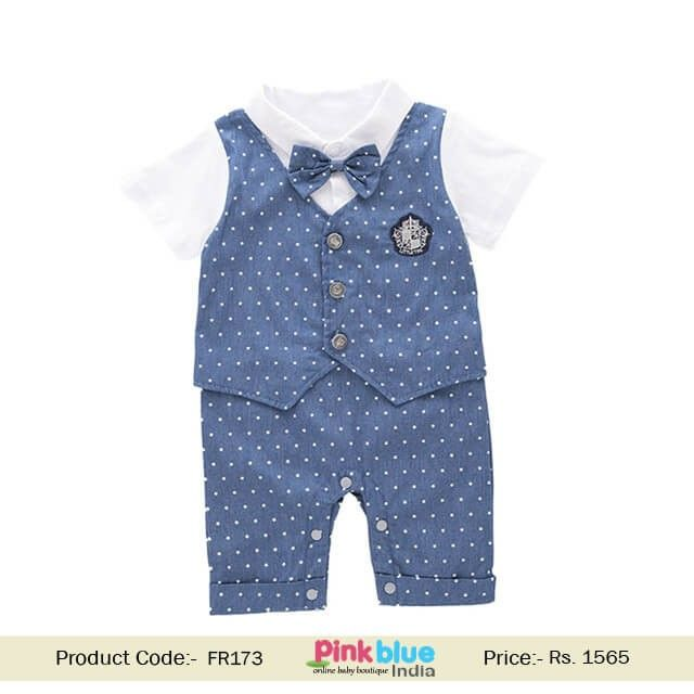 805e4346843e Infants Toddler Boys Party Style Birthday Romper with a Cute Bow tie ...