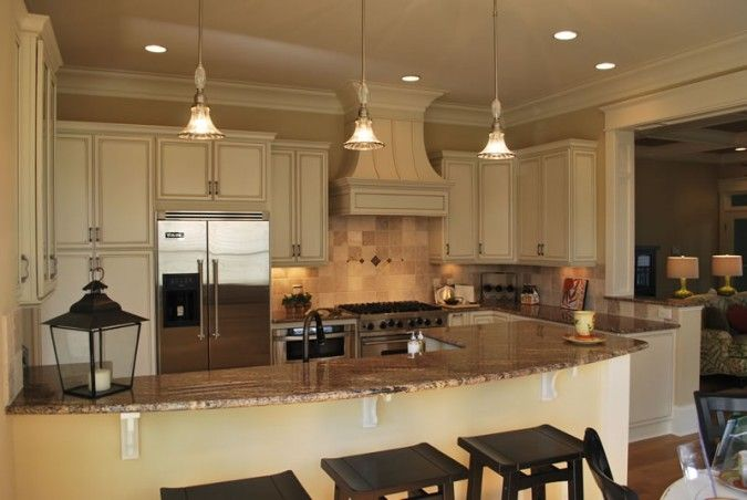 cream cabinets, glazed cabinets; coastal, kitchen bar, custom ...