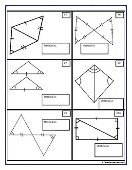Proving Triangles Congruent Cut, Match and Paste Activity ...