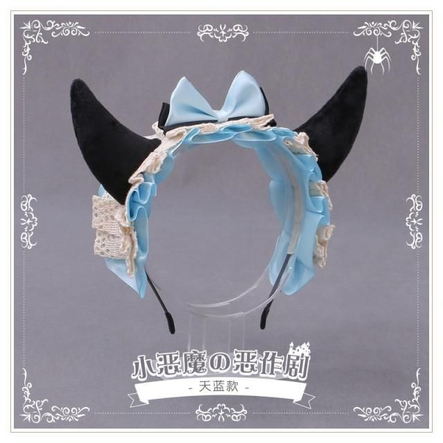 Photo of Gothic Lolita Hairband Cute Devil Horns Ears Headband Maid Lace Bow Bell Headbands Hair Hoop Anime Cosplay Girl Hair Accessories – 6