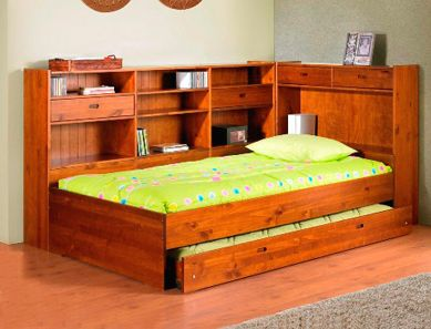 Ballina King Single Bed With Size Trundle And Wrap Around Bookshelf Flat Pack Furniture