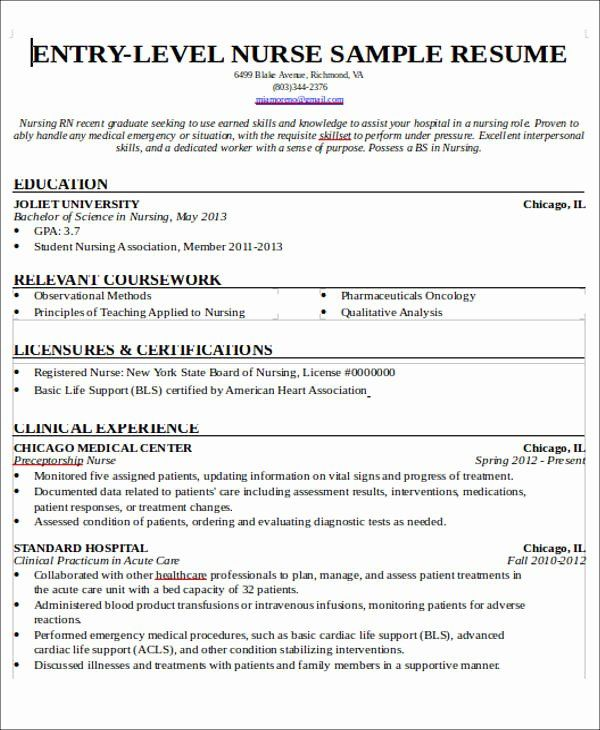 Nursing Student Resume With No Experience Awesome Free 7 Sample New Nurse Resume Templates In M Nursing Resume Nursing Resume Template Medical Assistant Resume