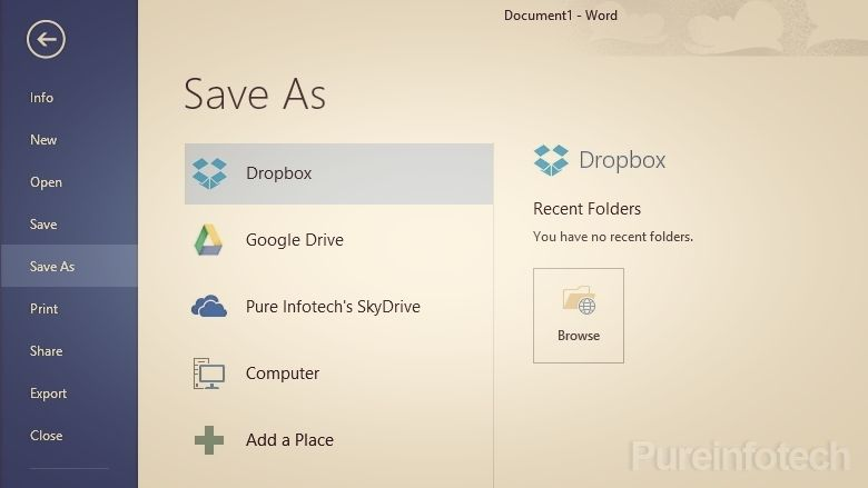 How to add Dropbox and Google Drive to Office 2013 Save As