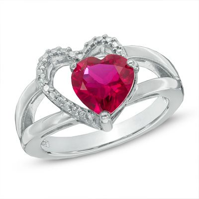8 0mm Heart Shaped Lab Created Ruby And Diamond Accent