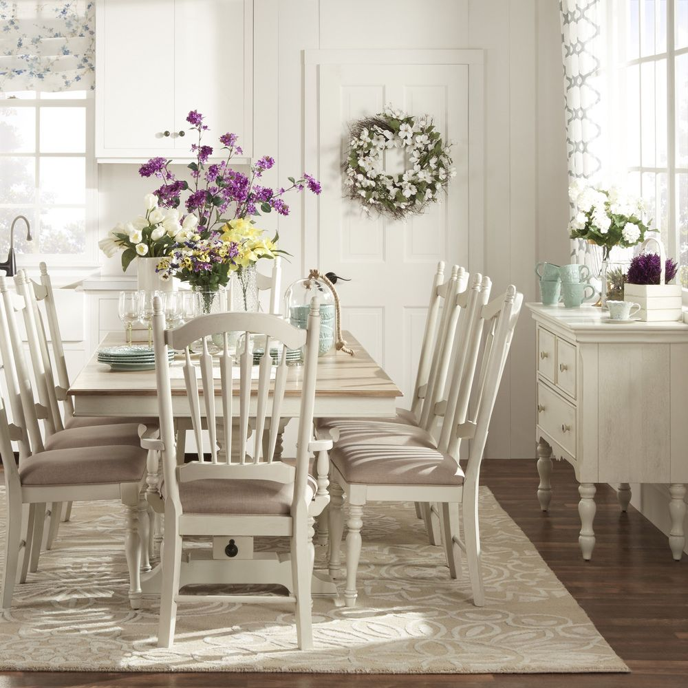 McKay Country Antique White Pedestal Extending Dining Set By INSPIRE Q  Classic By INSPIRE Q