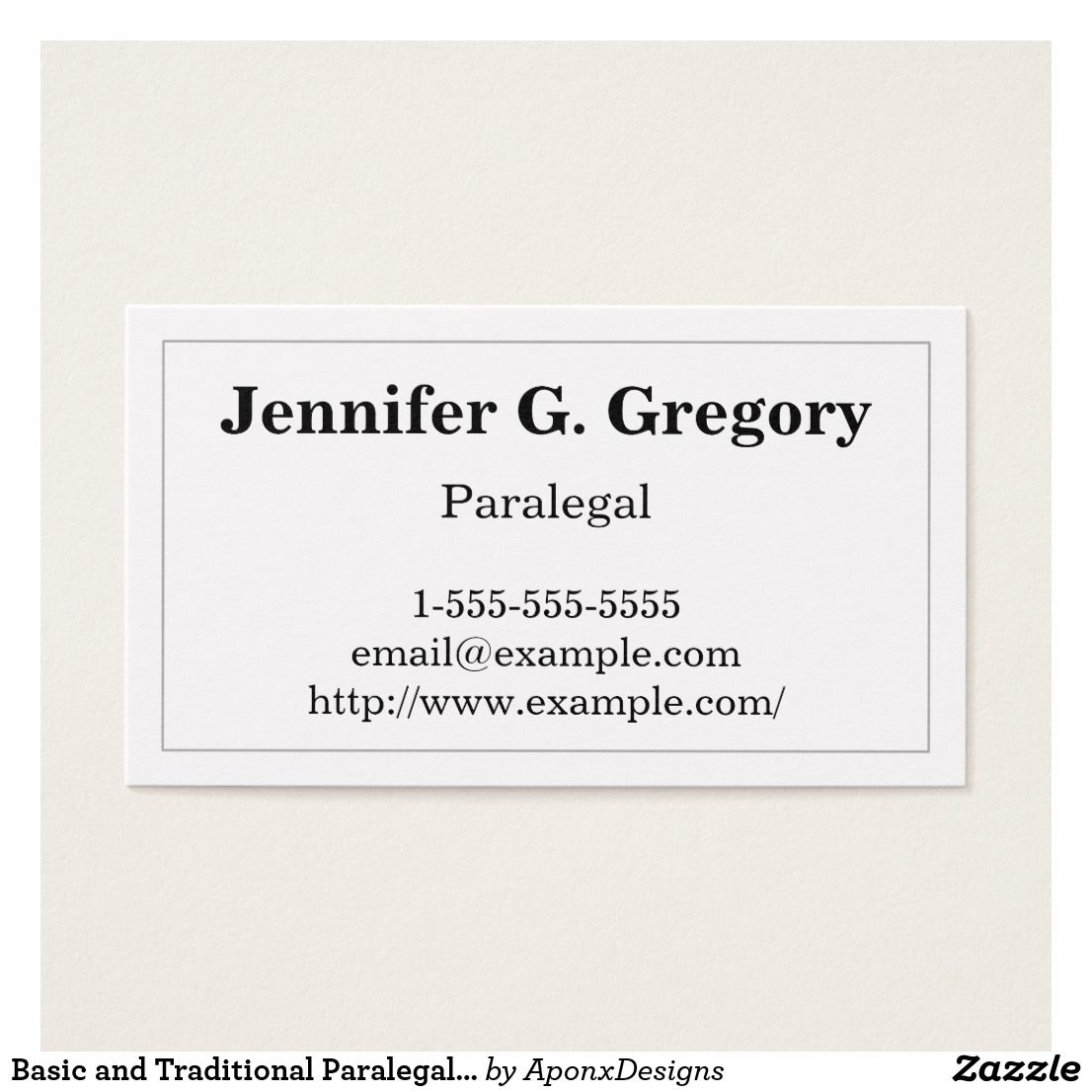Basic And Traditional Paralegal Business Card Zazzle Com Business Card Design Simple Simple Business Cards Customizable Business Cards