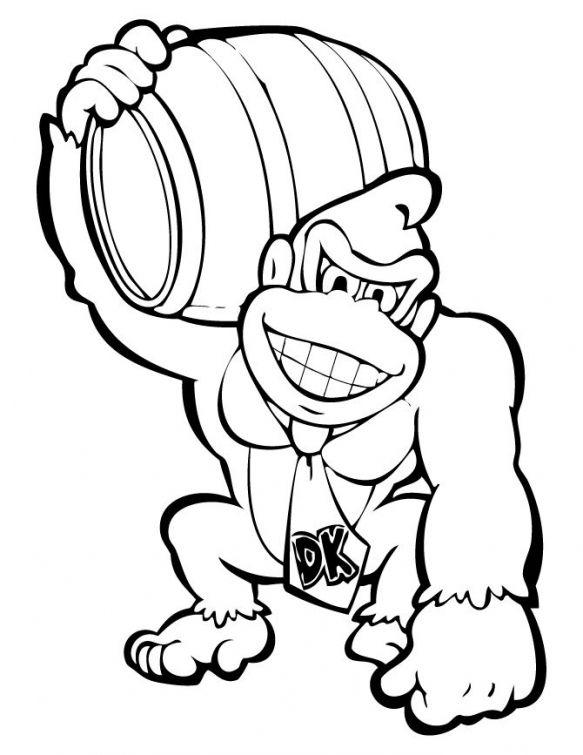 Donkey Kong holding a barrel coloring page | Dibujos | Coloring