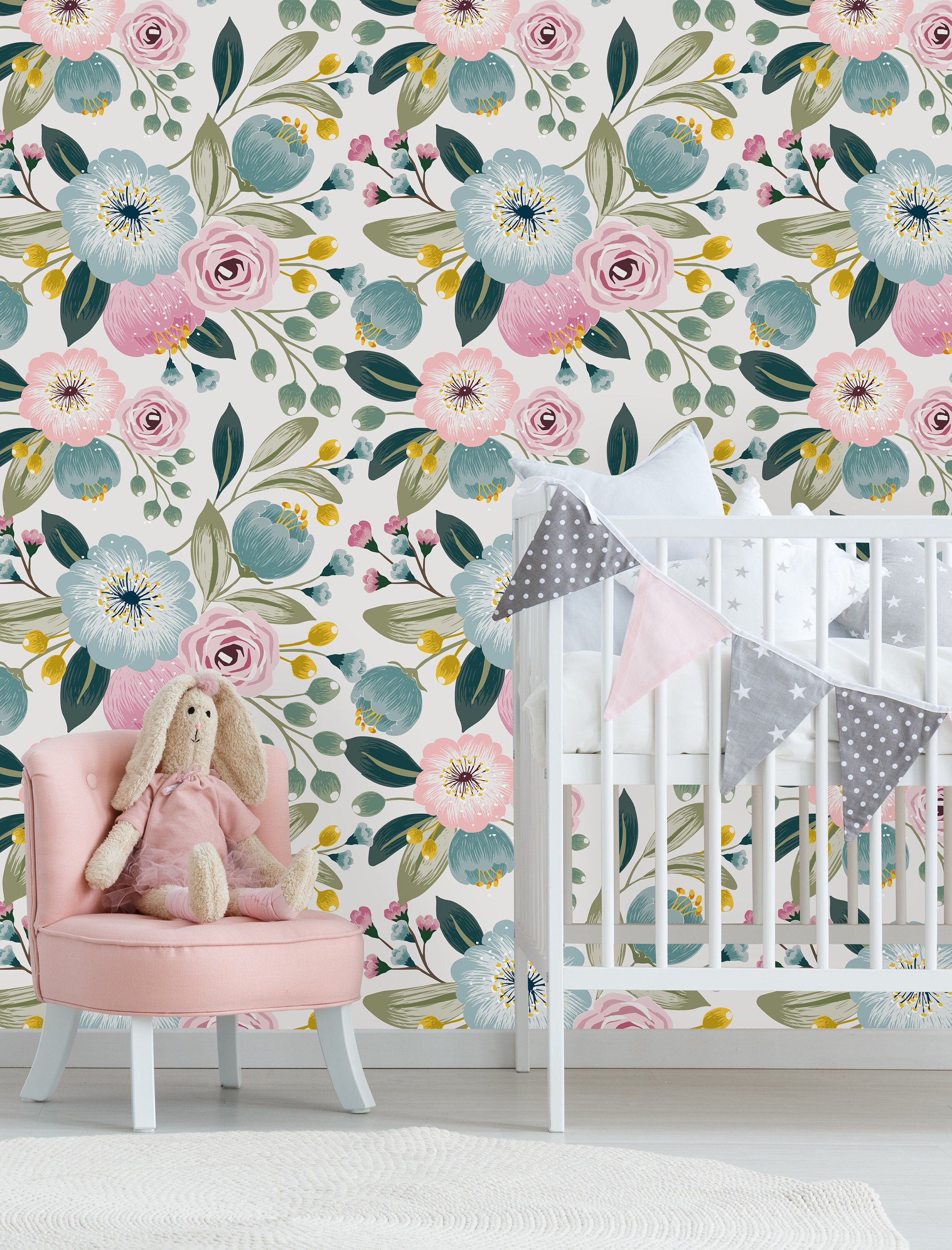 Removable Wallpaper Peel And Stick Wallpaper Self Adhesive Etsy Pastel Flower Nursery Nursery Wallpaper Flower Nursery