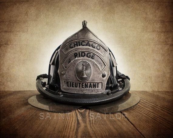 Vintage Fireman helmet, 12 Sizes Available from Print to Mounted Canvas #homedecor #wallart #photoprints #canvasprints #saintandsailor #photography #boysroom #vintage #boysnursery #rustic #firefighter #bedroomdecor #chicago