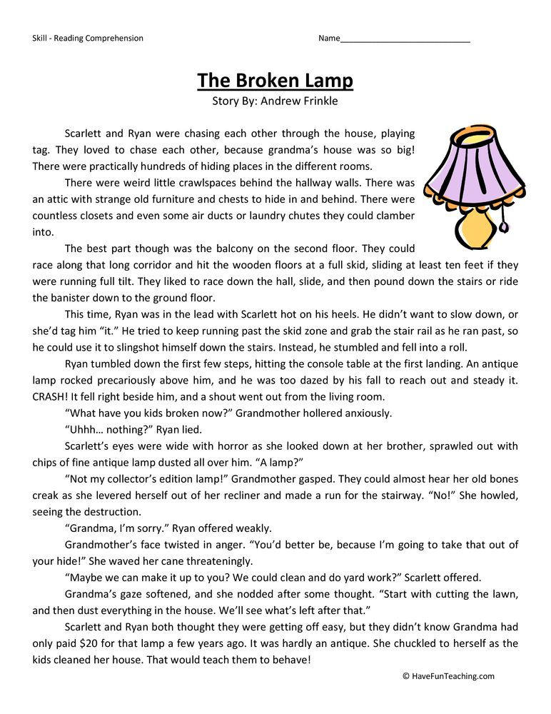 Broken Lamp Fifth Grade Reading Comprehension Worksheet Reading