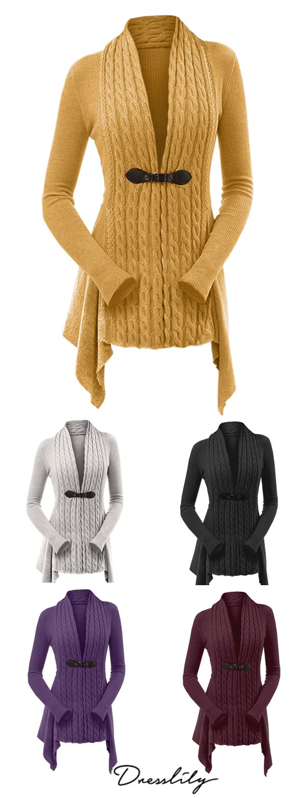 5ed9e8a846d Cable Knit Buckle Asymmetrical Cardigan.  dresslily  cardigan  womenfashion