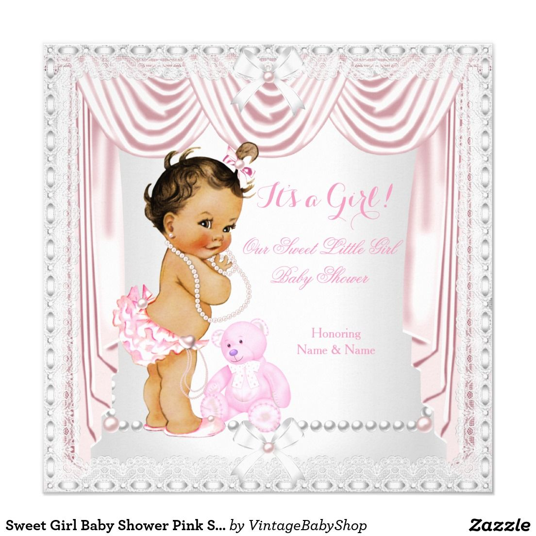 Sweet Girl Baby Shower Pink Satin Brunette Baby 5.25x5.25 Square ...