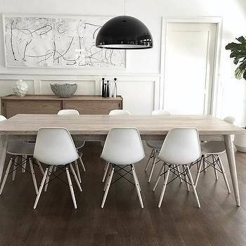 Light Gray Stained Dining Table With White Eames Molded Plastic