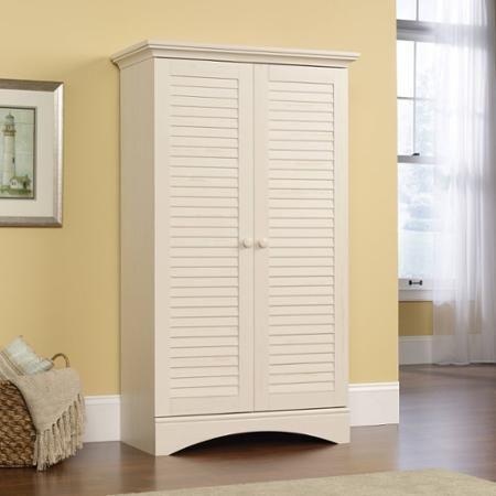 Sauder Harbor View Storage Cabinet Antiqued White In 2021 Tall Cabinet Storage Kitchen Cabinet Storage Wood Storage Cabinets