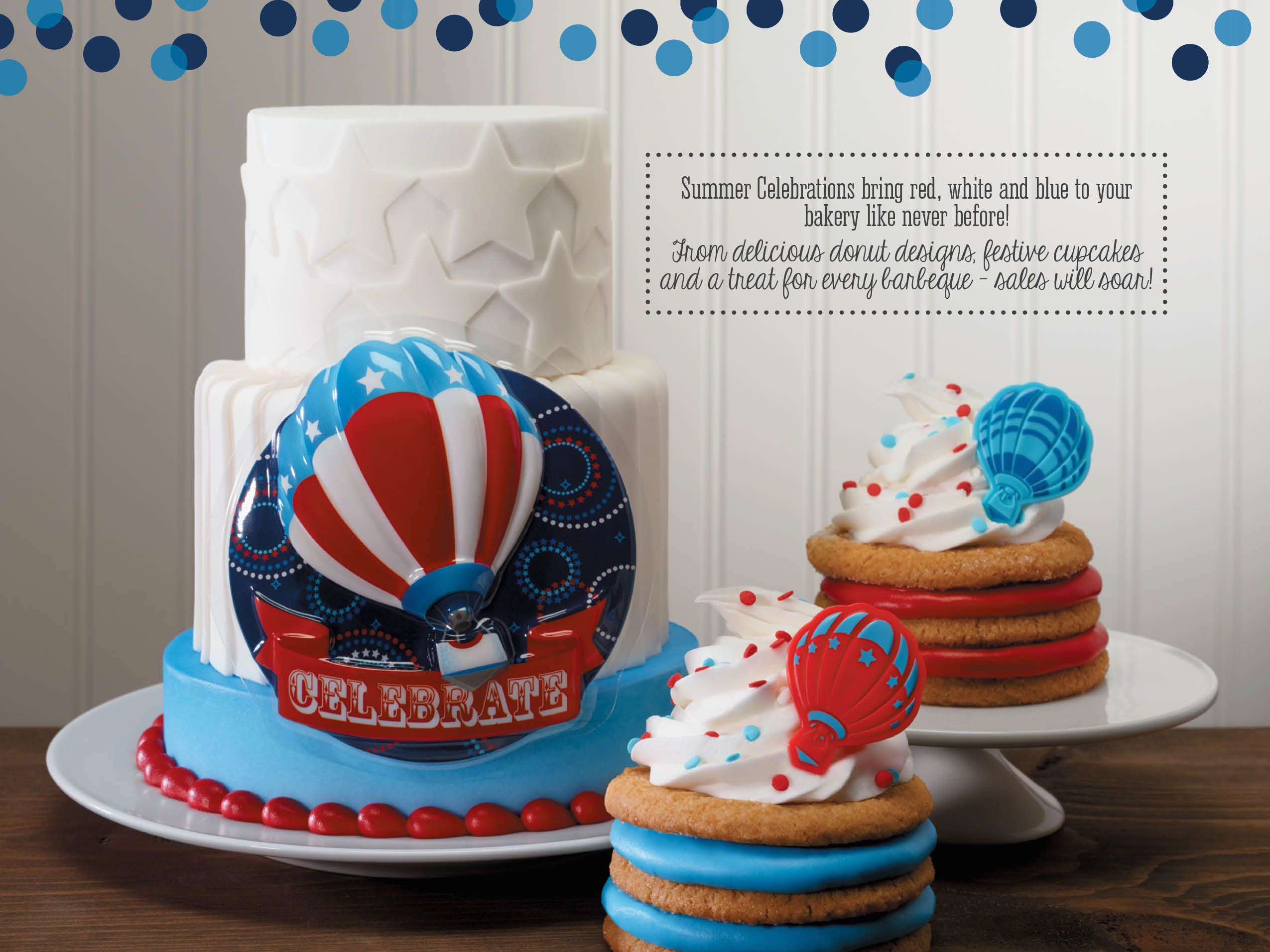 4th of July Flyer Back Cover: 4th of july cake, independence day cake, stacked cake, hot air balloon cake, modern cake, fondant shapes
