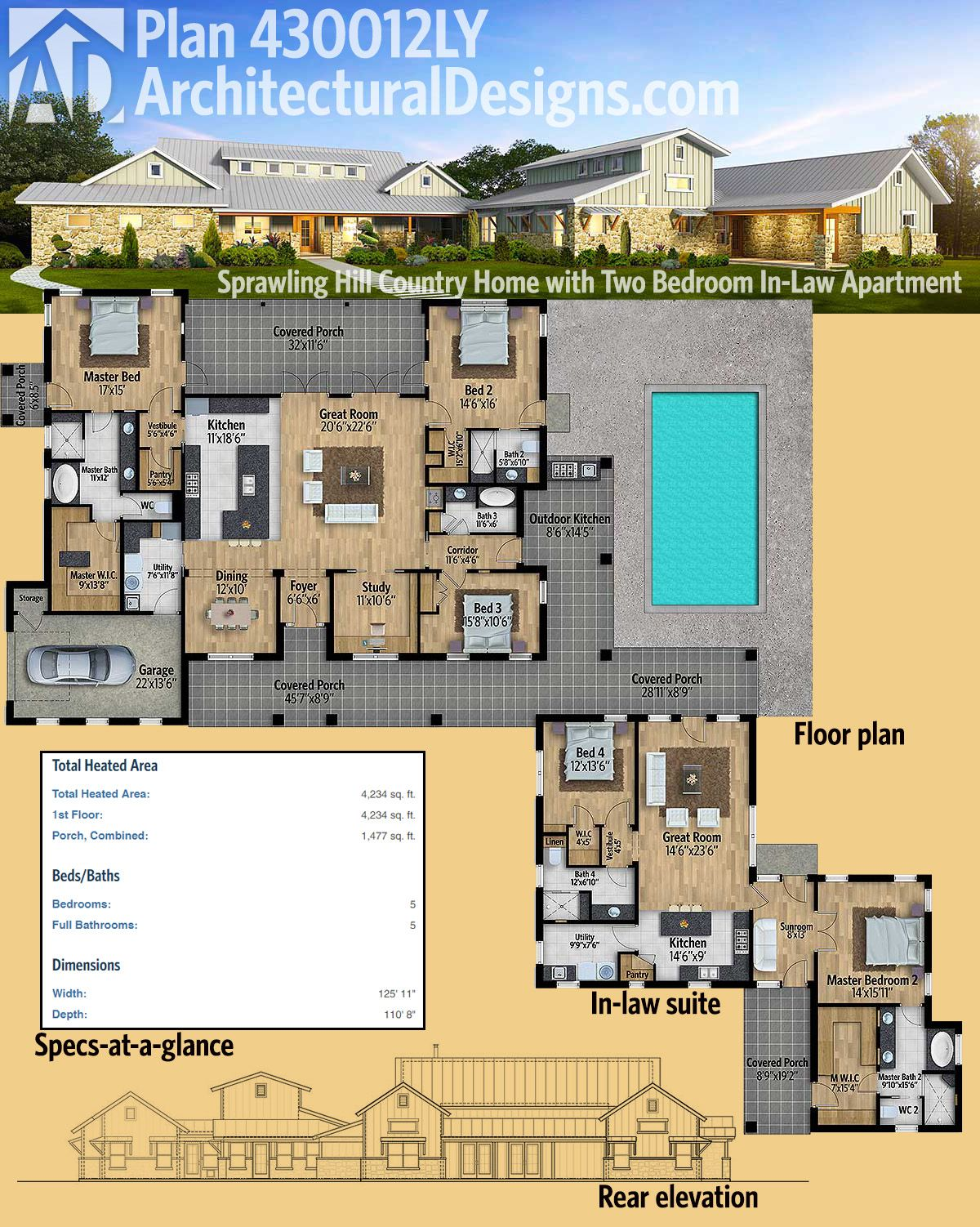 Plan 430012ly Sprawling Multi Generational Hill Country Home With Two Bedroom Multigenerational House Plans Hill Country Homes Country House Plan