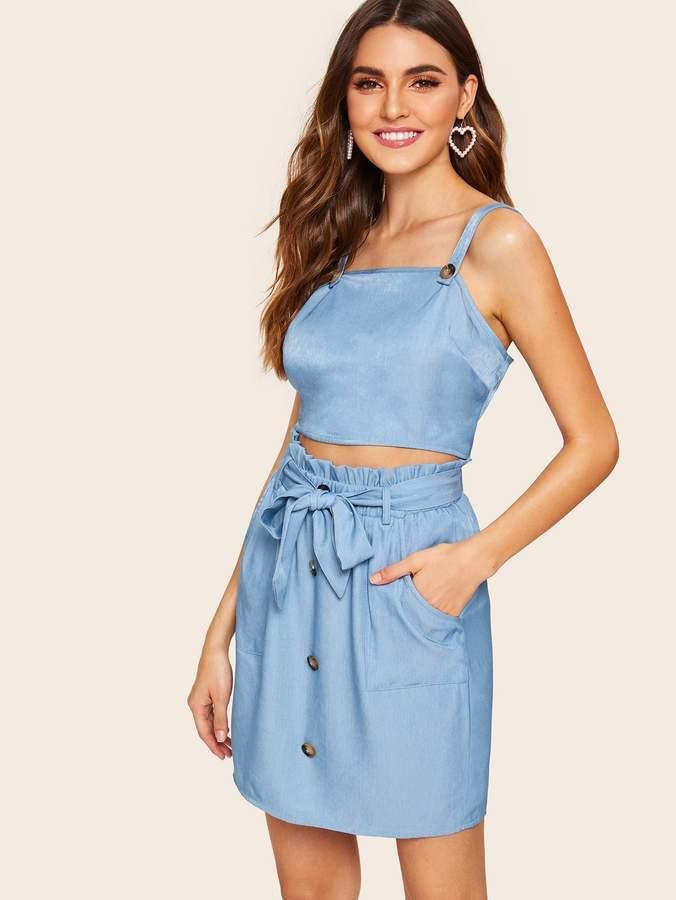 001224c1fa Shein Button Detail Crop Top & Paperbag Waist Belted Skirt Set in ...