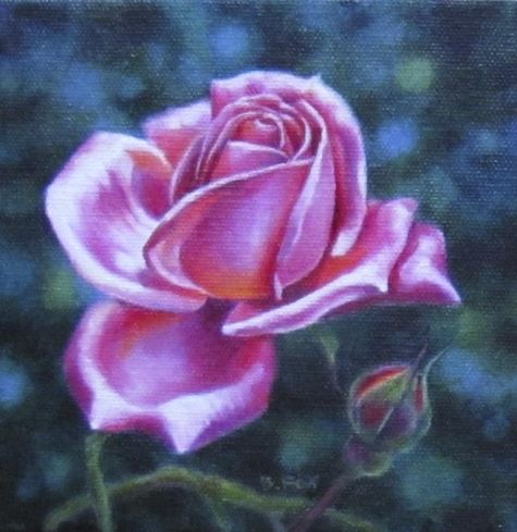 SONNENBERG GARDENS rose floral oil painting, painting by artist Barbara Fox