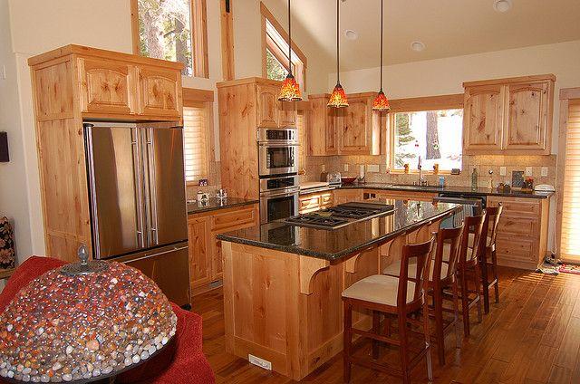 knotty alder kitchen   Small cabin kitchens, Kitchen plans ...