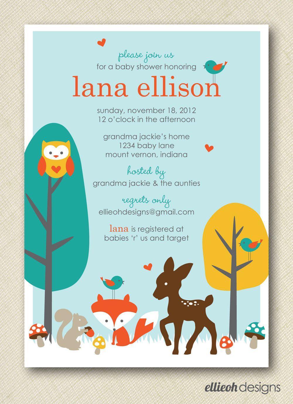 woodland baby shower invite PRINTABLE 5x7 digital file. $15.00, via ...