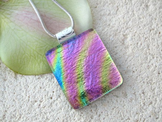 Petite Rainbow Golden Pink  Dichroic Glass Jewelry  by ccvalenzo