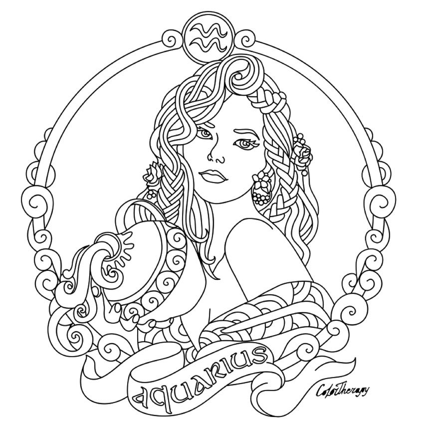 Aquarius Zodiac beauty colouring