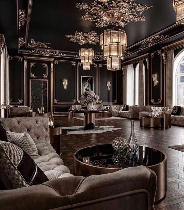 Stunning Art Deco Style Black And Gold Living Room Decor With Tufted Sofas Desain Ruang Tamu Mewah Rumah Megah Kehidupan Mewah