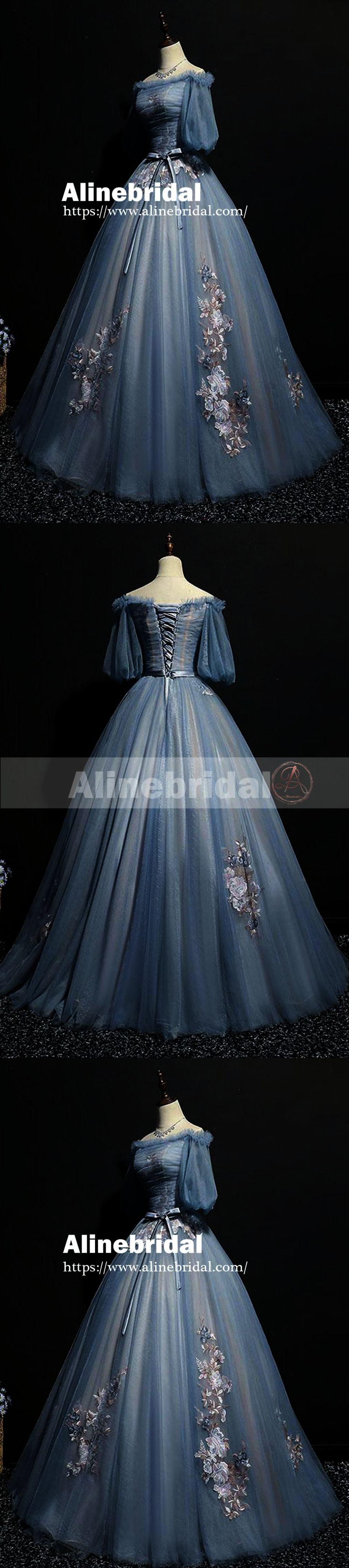 71833b0a28 Vintage Princess Off Shoulder Half Sleeve Sky Blue Appliques Ball Gown Prom  DressesPD00076