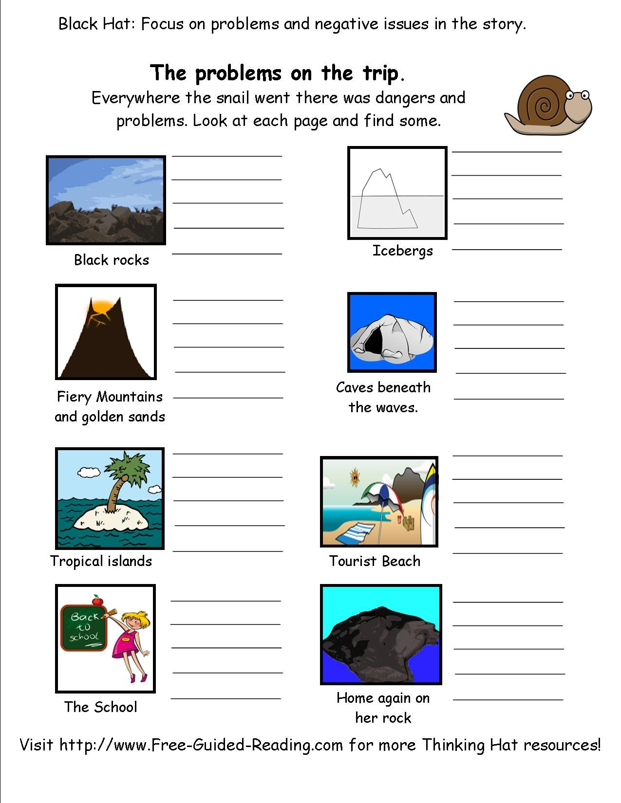 Snail And The Whale Story Activity Worksheets Free Thinking Hat Worksheets For Black Hat