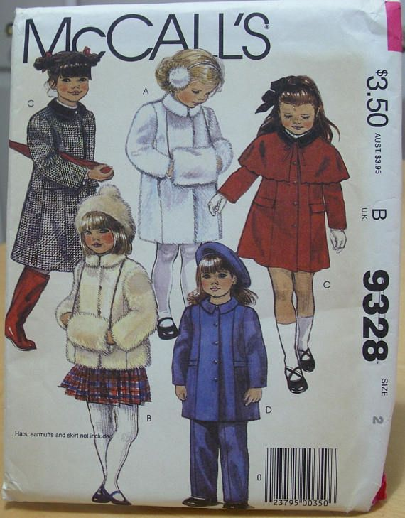 McCall\'s 9328 Child\'s coat, cape and muff sewing pattern Size 2 ...