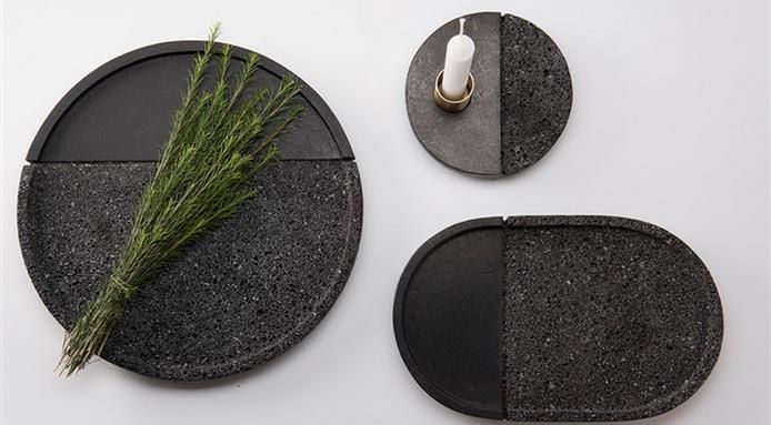 & A Dinner Plate Carved from Volcanic Stone