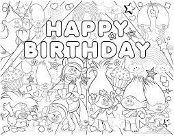 Image result for coloring trolls | Happy birthday coloring ...