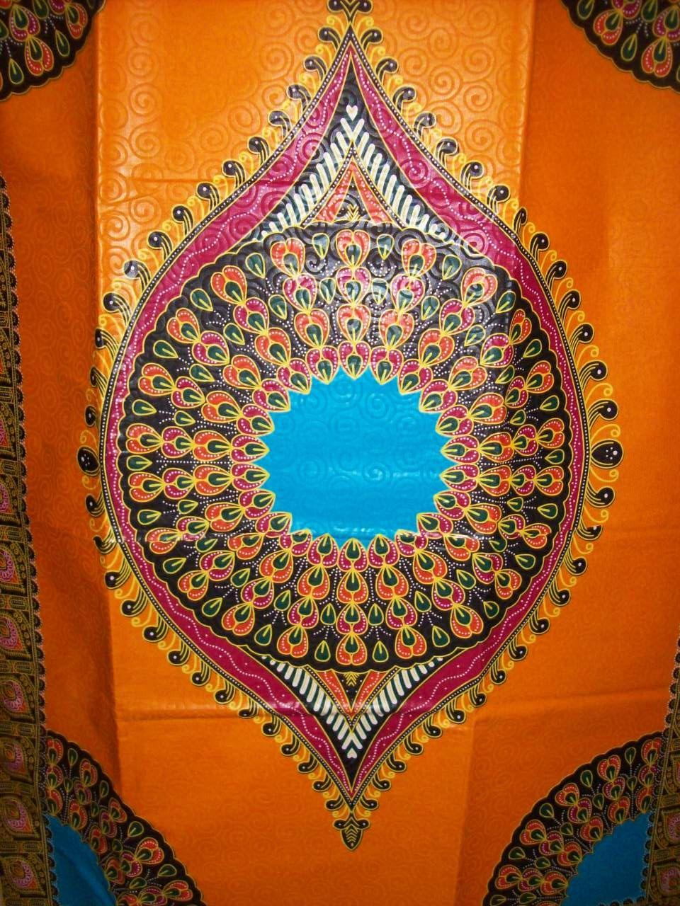 Orange Color Peacock dashiki fabric per panel wholesale/ Angelina fabric/ Addis Ababa fabric/ Dashiki Fabric/dashiki dress/ Dashiki skirt by tambocollection on Etsy