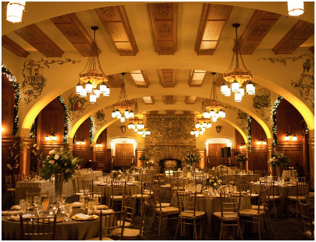 Classic reception decor with a mixed metallic palette. The Fairmont Chateau Lake Louise Weddings,