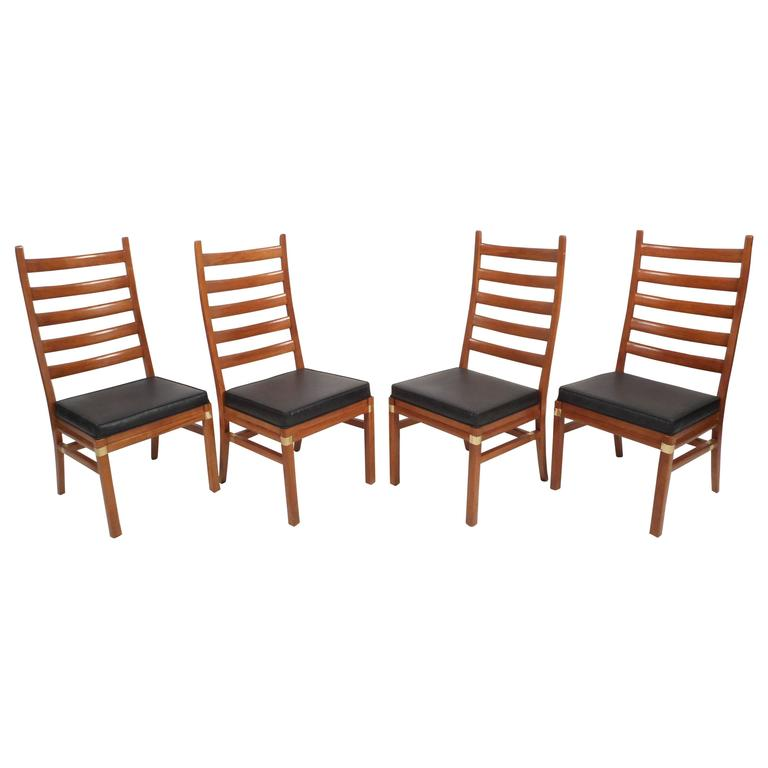 Set Of Mid Century Modern Ladder Back Dining Chairs Ladder Back