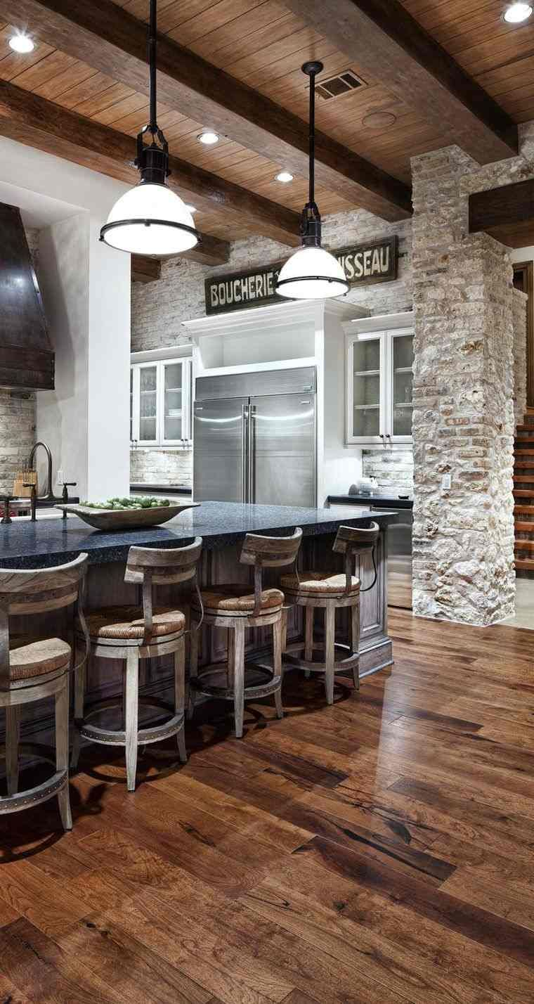 cuisine de style bristrot et déco de mur en pierre  Home, Rustic