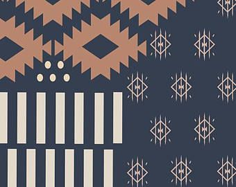 2f73aaef467c8a Southwestern Knit Jersey Fabric Pano Stone by April Rhodes Arizona After  Collection Art Gallery Fabrics Navy Knit Fabric AGF