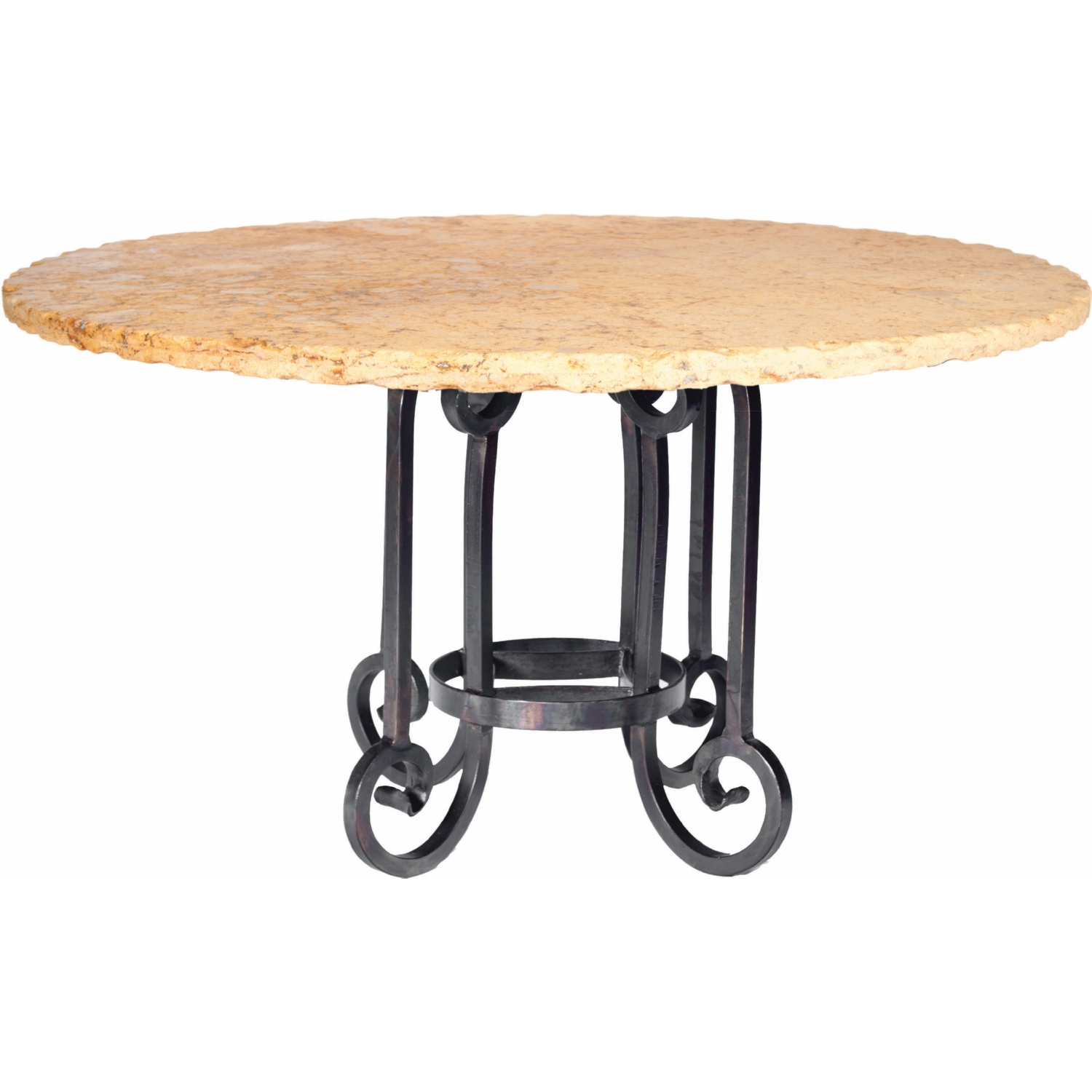 Prima Design Source Curled Leg Dining Table in Hand Forged Iron w ...