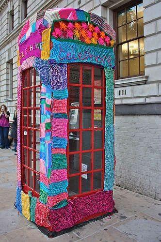 Via 'Street Art - Community' - Google+... 'oDd FeZ' shared this Yarn Bombing of a Telephone Box - Urban/Street Art♥❤♥