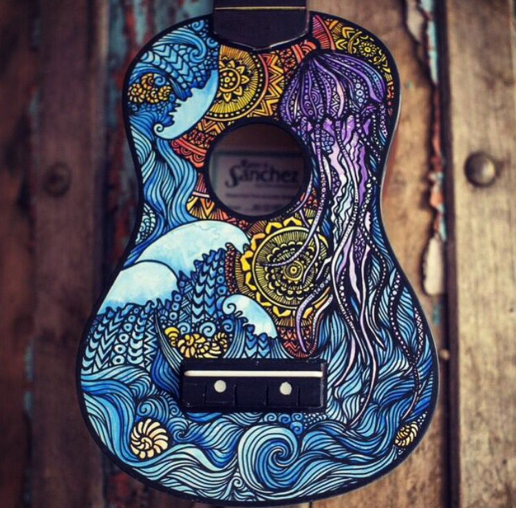 Lauren Swan hand painted ukuleles   {music}♪   Pinterest ... Ukulele Paint Designs