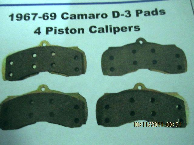 1967-69 Camaro D3 pads  4 piston calipers